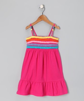 Pink Ruffle Stripe Dress - Girls