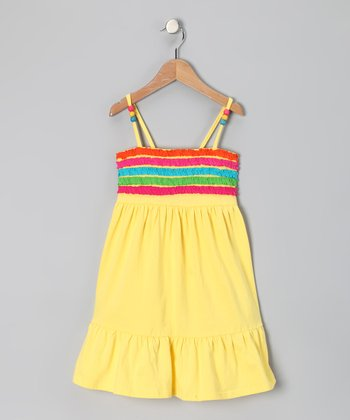 Yellow Ruffle Stripe Dress - Girls