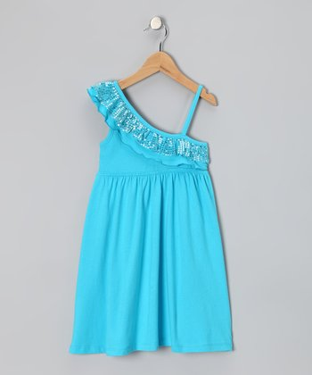 Blue Sequin Ruffle Dress - Girls