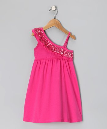 Pink Sequin Ruffle Dress - Girls