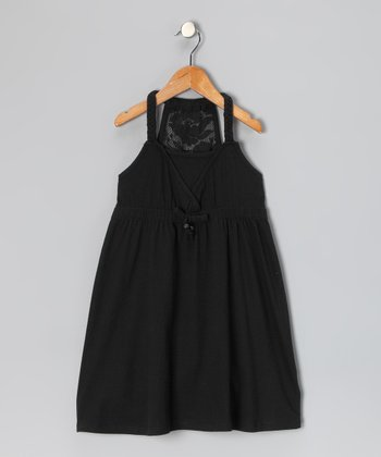 Black Lace Racerback Dress - Girls