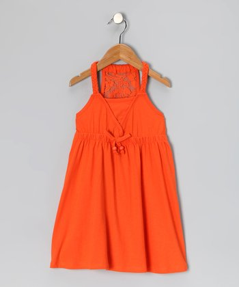Orange Lace Racerback Dress - Girls