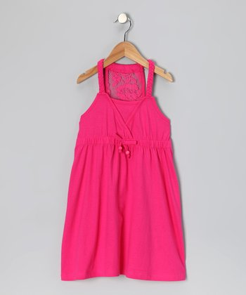 Pink Lace Racerback Dress - Girls