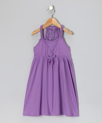 Purple Lace Racerback Dress - Girls