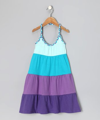 Blue & Purple Stripe Halter Dress - Girls