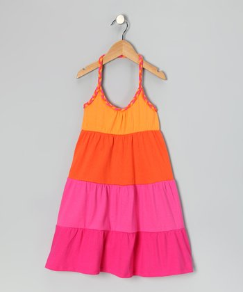 Orange & Pink Stripe Halter Dress - Girls