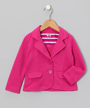 Fuchsia Single-Breasted Blazer - Toddler & Girls