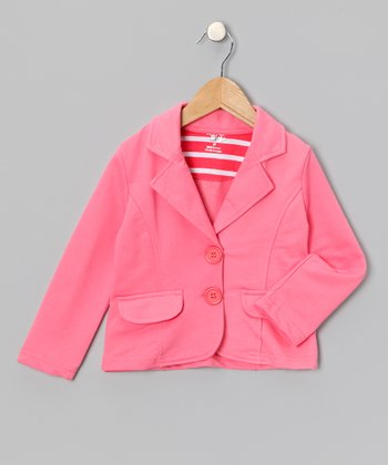 Peach Single-Breasted Blazer - Toddler & Girls