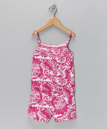 Raspberry Floral Romper - Girls