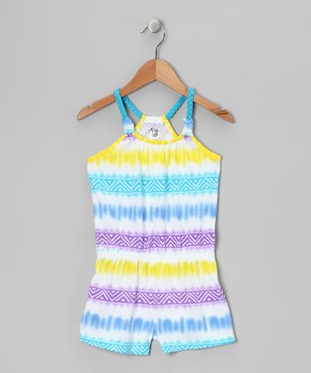 Neon Blue Tribal Romper - Girls