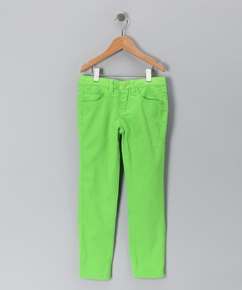 Bright Green Skinny Jeans - Girls