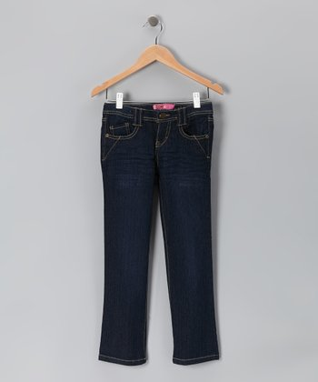 Stonewash Dark Denim Jeans - Toddler & Girls