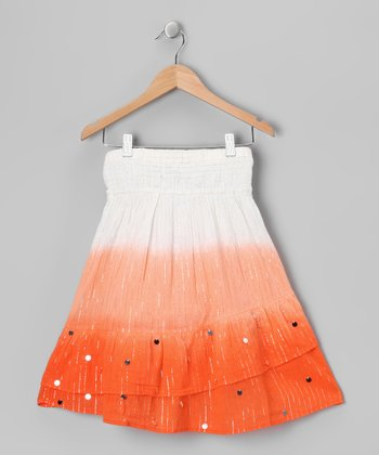 Orange Stripe Smocked Convertible Skirt - Girls