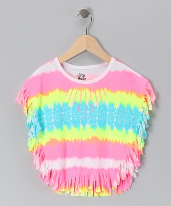 Neon Pink Tie-Dye Fringe Cape-Sleeve Top - Toddler & Girls