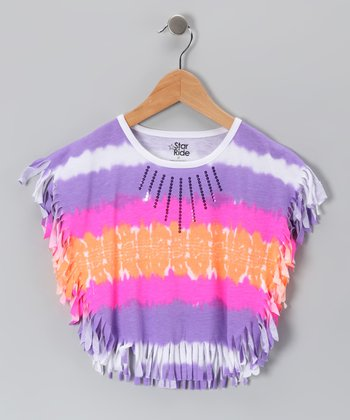 Neon Purple Tie-Dye Fringe Cape-Sleeve Top - Toddler & Girls