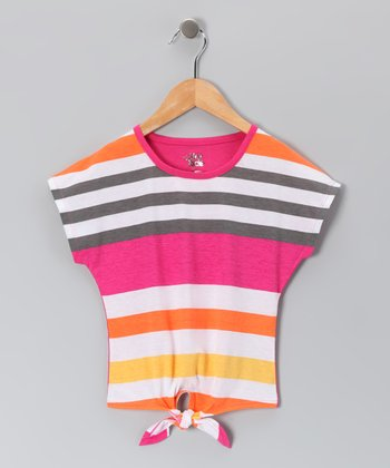 Fuchsia & Orange Stripe Tie Top - Girls