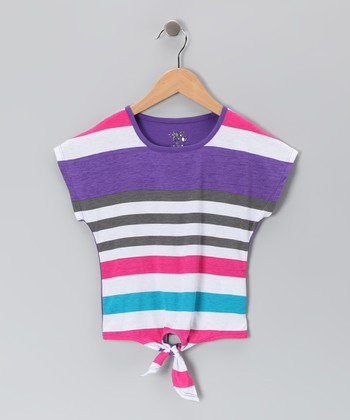 Grape Juice & Pink Stripe Tie Tee - Girls