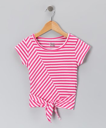 Fuchsia Stripe Tie Tee - Toddler & Girls