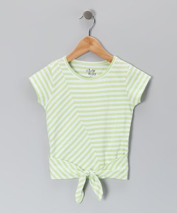 Sharp Green Stripe Tie Tee - Toddler & Girls