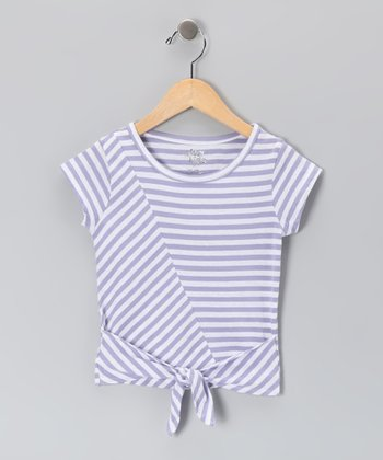 Lavender Stripe Tie Tee - Toddler & Girls