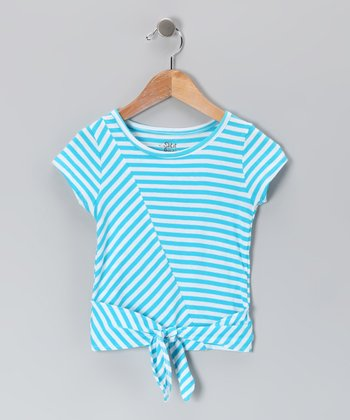 Miami Blue Stripe Tie Tee - Toddler & Girls