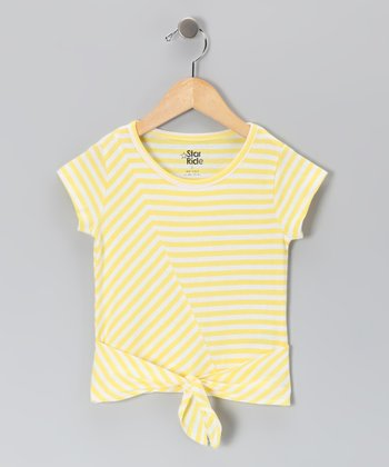 Yellow Stripe Tie Tee - Toddler & Girls