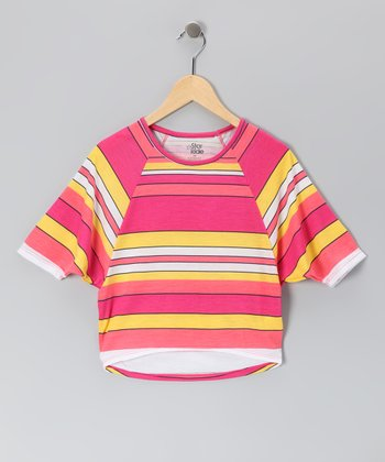 Fuchsia & Peach Stripe Dolman Top - Girls