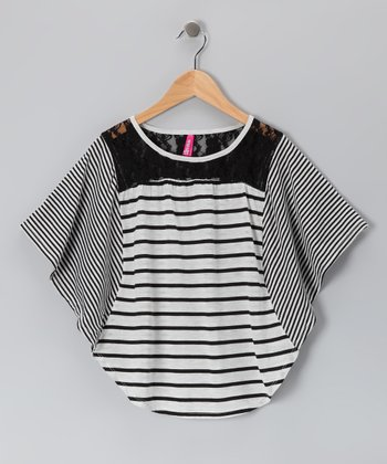 Black Oatmeal Stripe Cape-Sleeve Top - Girls
