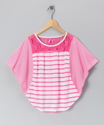 Carnation Stripe Cape-Sleeve Top - Girls