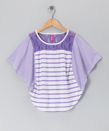 Fresh Purple Stripe Cape-Sleeve Top - Girls