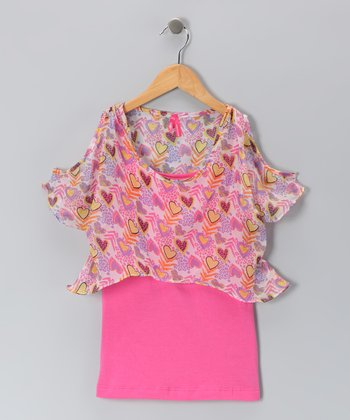 Carnation Heart Chiffon Top & Camisole - Girls