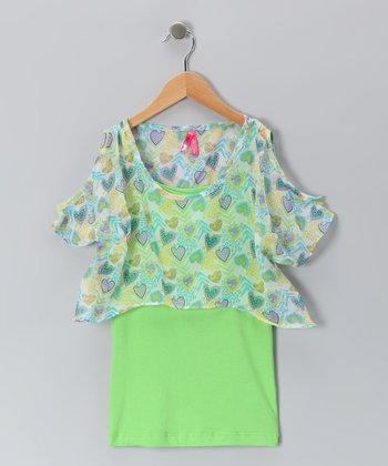 Bright Green Heart Chiffon Top & Camisole - Girls
