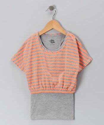 Heather Gray Stripe Cropped Top & Racerback Tank - Girls