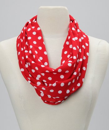 Red & White Polka Dot Infinity Scarf