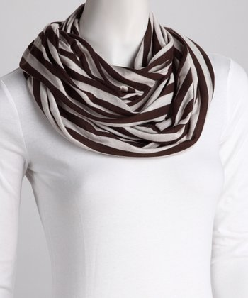 Brown & White Stripe Infinity Scarf
