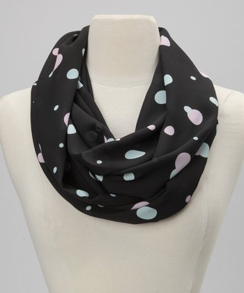 Black Pastel Polka Dot Semi-Sheer Infinity Scarf