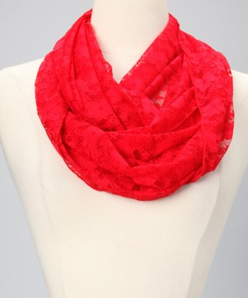 Red Lace Infinity Scarf