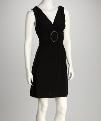 Black Circle Belt Surplice Dress