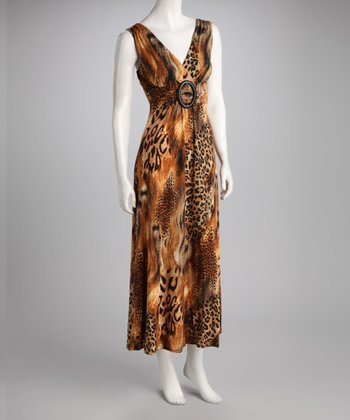 Brown Jungle Maxi Dress