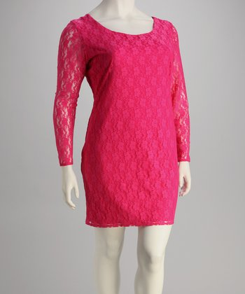 Fuchsia Lace Plus-Size Dress