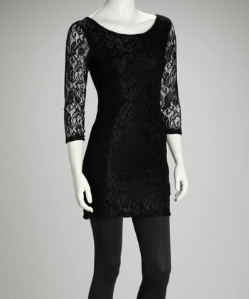Black Lace Scoop Neck Dress