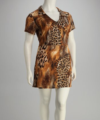 Brown Plus-Size Jungle Dress
