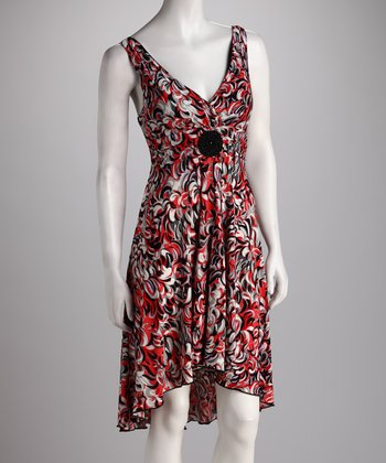 Red & Gray Abstract Hi-Low Dress