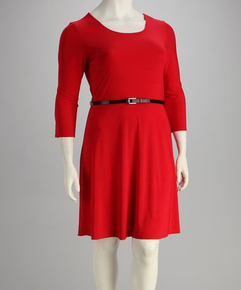Red Belted Three-Quarter Sleeve Dress - Plus