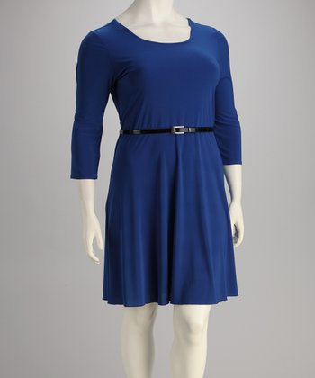 Royal Belted Three-Quarter Sleeve Dress - Plus