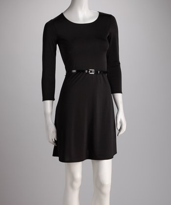 Black Belted A-Line Dress