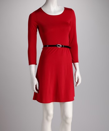 Red Belted Dress