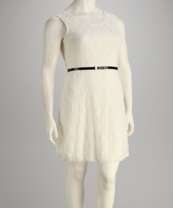 Ivory Lace Belted Plus-Size Dress