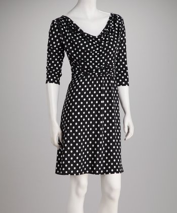 Black & White Polka Dot Gathered Dress