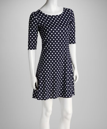 Navy & White Dot Low-Back Dress